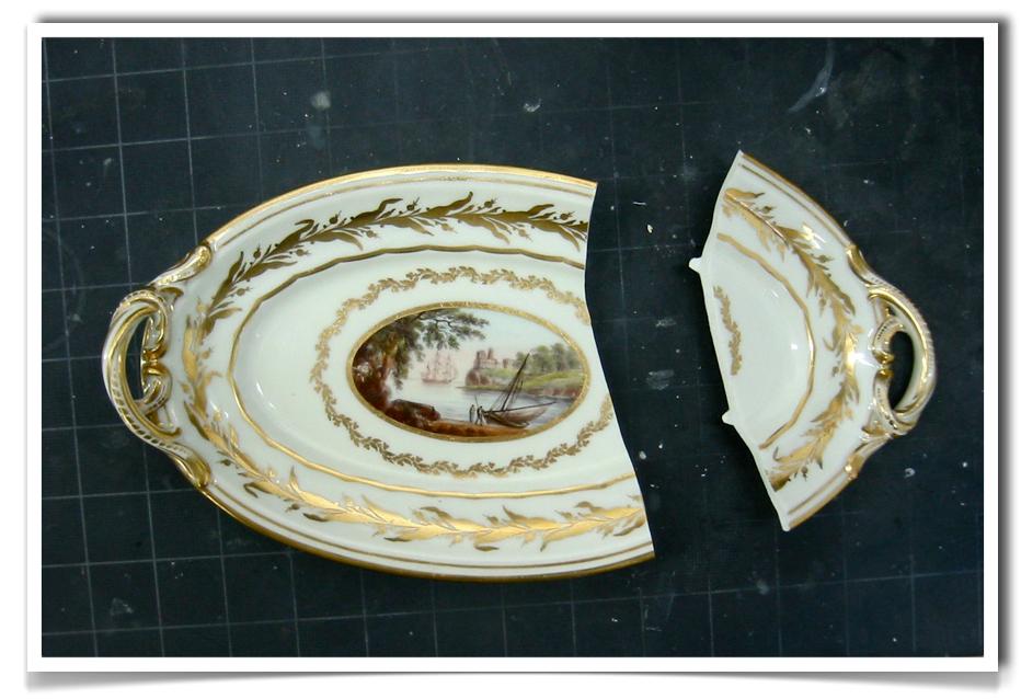 Chamberlain Worcester porcelain dish. Ceramic Restoration.