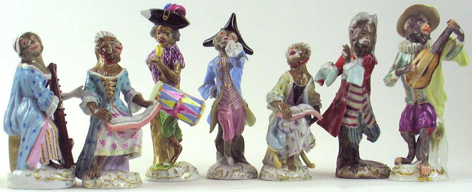 Meissen porcelain. Monkey orchestra figurines