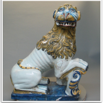 Antique Faience Statue of a Heraldic Lion
