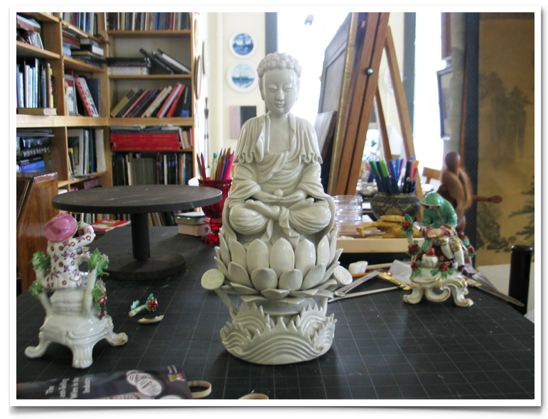 Blanc de Chine Bodhisattva on a Lotus Flower. Ceramic Restoration.