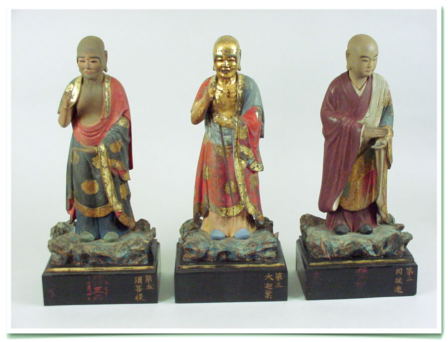 Carved Wood, Painted and Gilded Buddist Monks