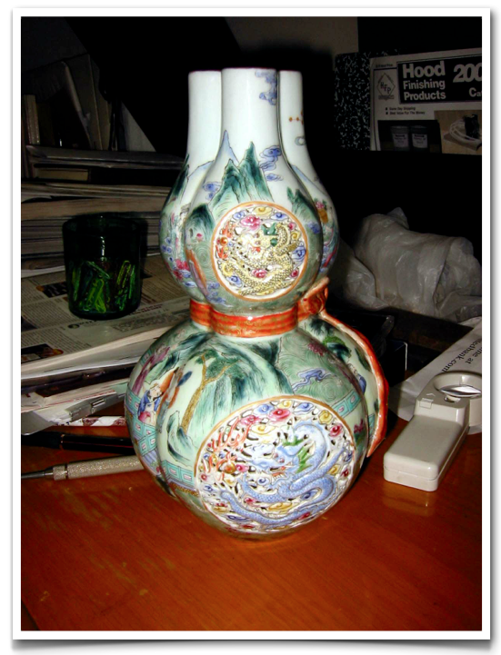 Chinese Reticulated Triple Neck Double Gourd Vase