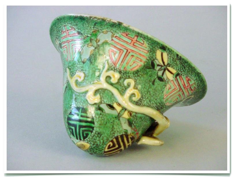 Chinese famille verte porcelain libation cup, Kangxi period
