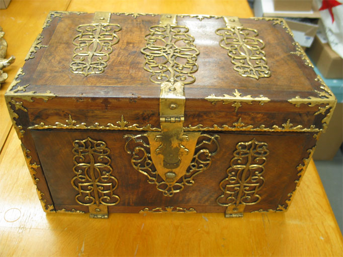 Dutch Chest, Wood and Bronze.