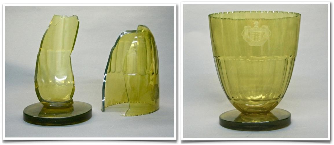ENGRAVED CUT GLASS VASE