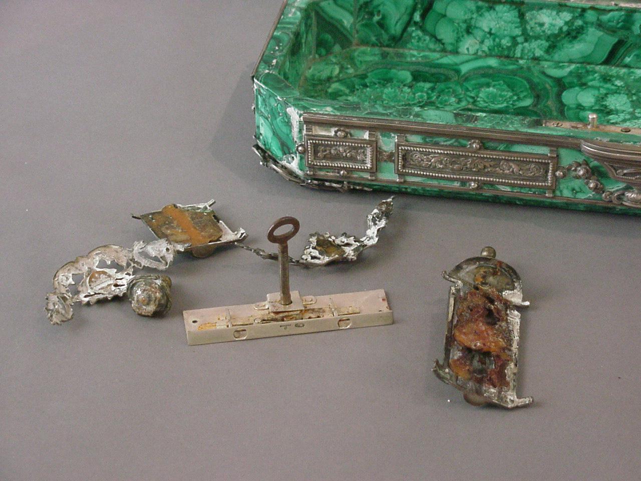 Faberge Box. Silver and Malachite