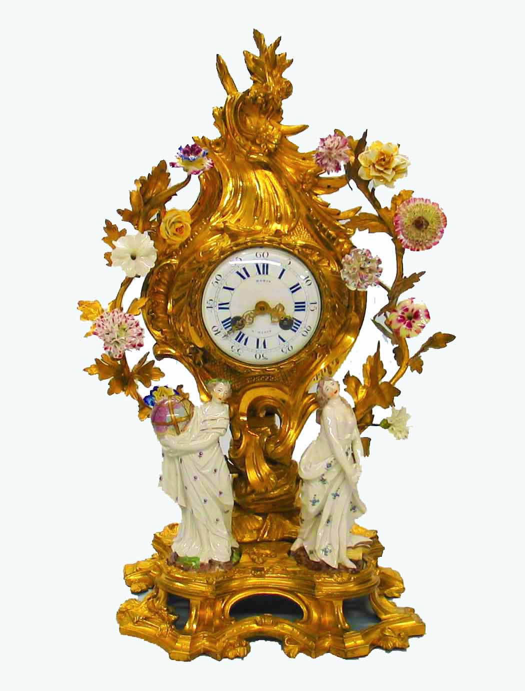French Ormolu and German Porcelain Clock