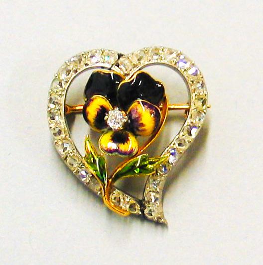 Gold Pin. Enamel and Diamonds