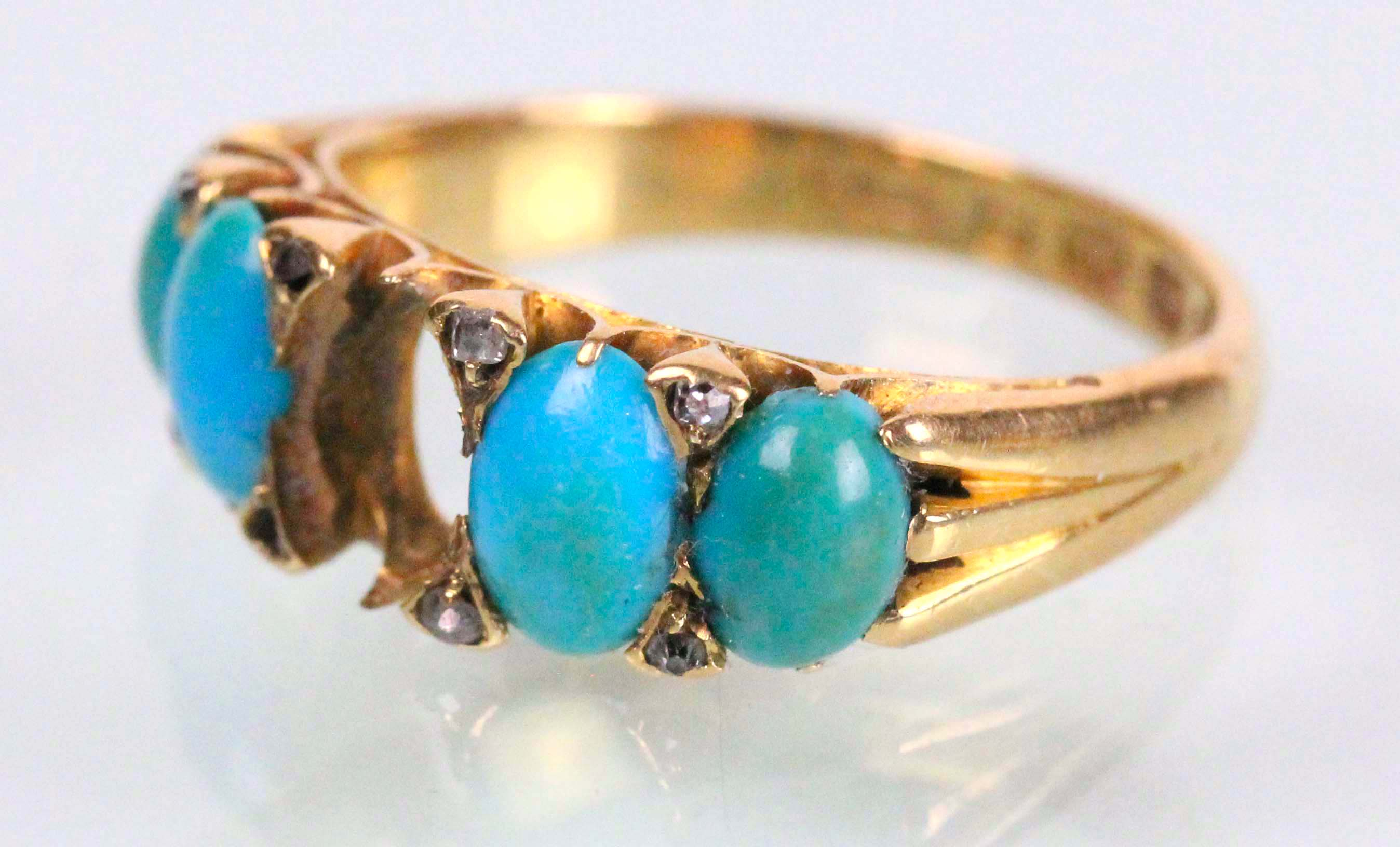 Gold Ring. Turquoise and Diamonds. Jewelry Repair and Restoration.