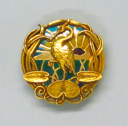 Gold and Plique-à-jour Brooch