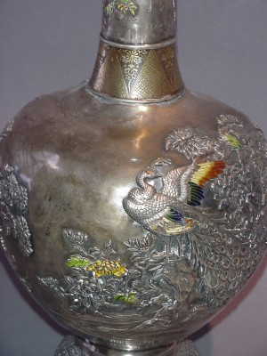 Enamel on Silver Vase. Japan, Meiji period