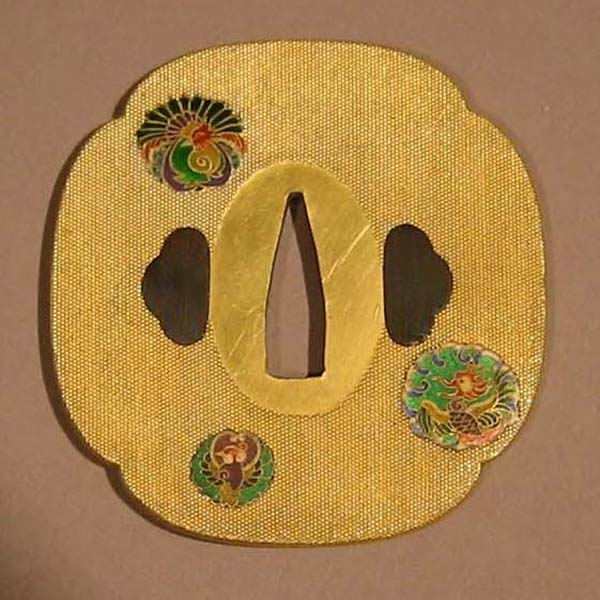 Gilded Tsuba. Enamel on Copper. Japan, Meiji period