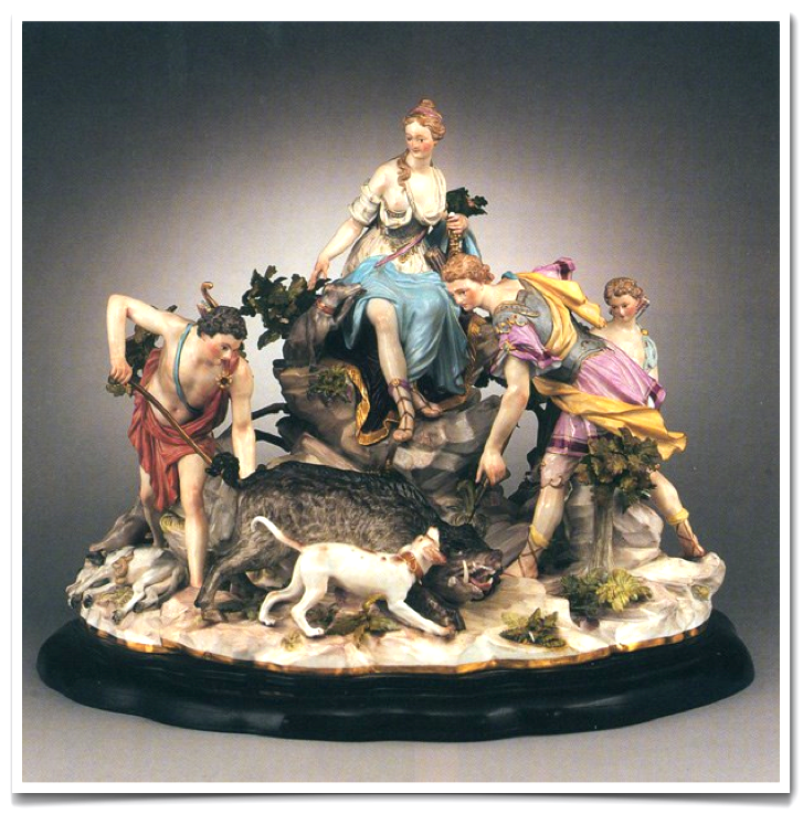 Meissen porcelain group. Diana goddes af the hunt.