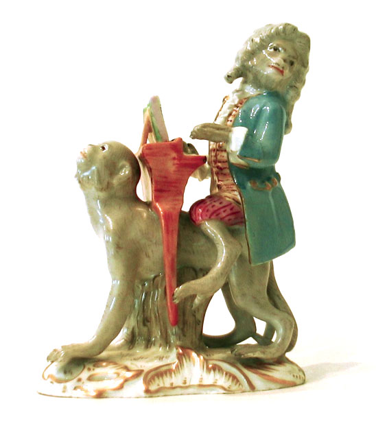 Meissen Porcelain Factory . Monkey Band Series. Piano Player. Porcelain Restoration