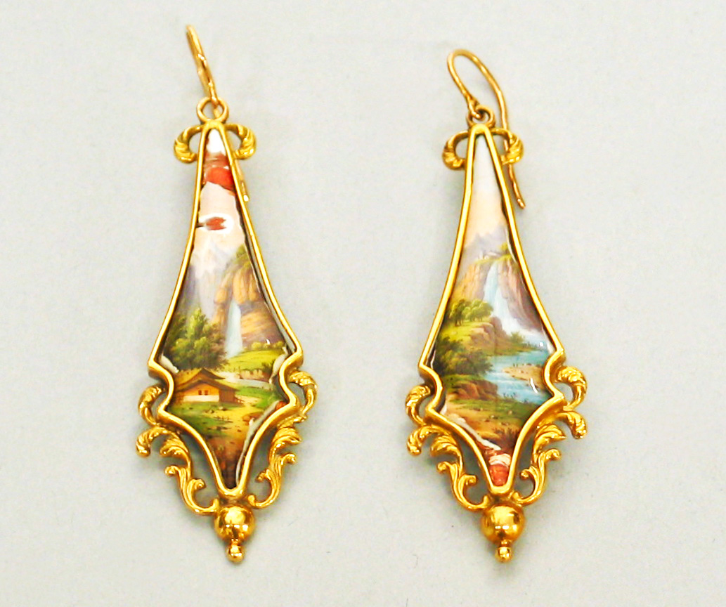 Pair of Gold and Enamel Earrings