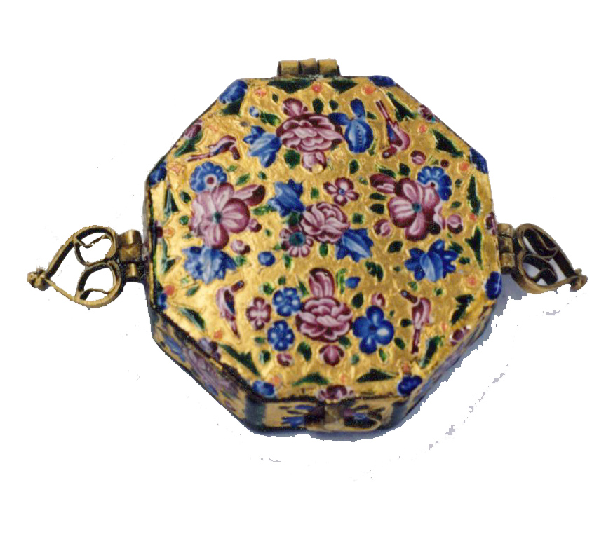 Persian Qajar Dynasty Box. Enamel on gold. Qajar Dynasty