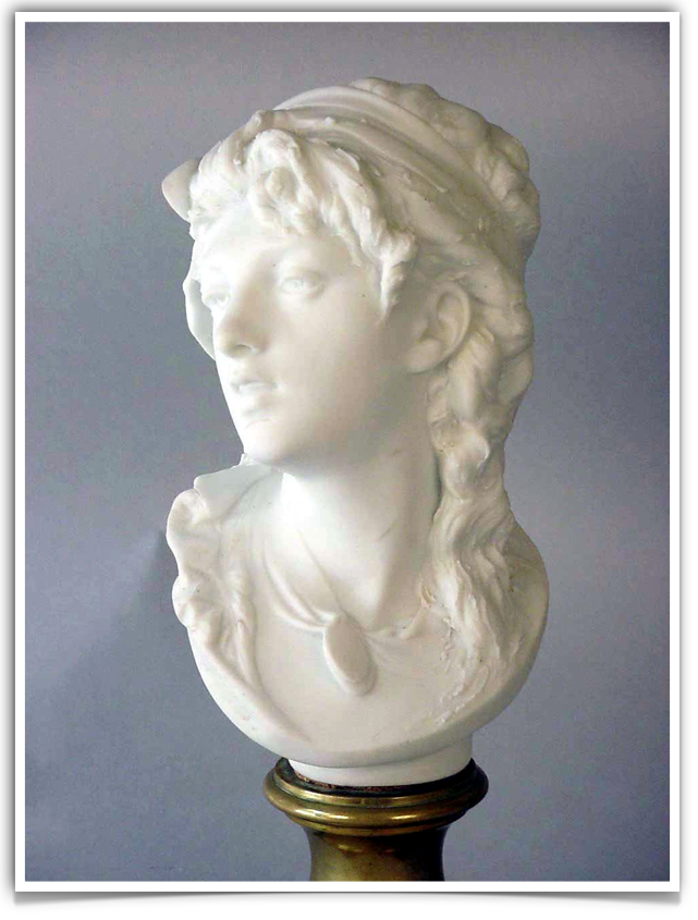"""Suzon"" bust by Rodin, porcelain bisque"