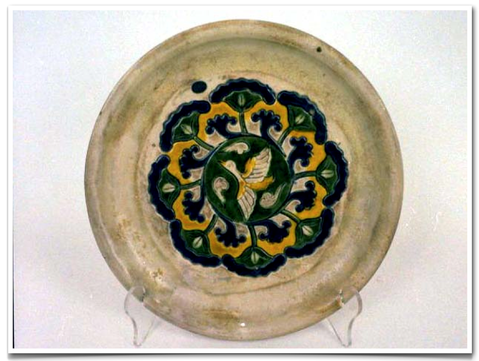 Tang Dynasty (618 – 907) GLAZED STONEWARE OFFERING DISH, SANCAI