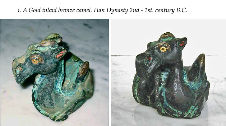 A Gold inlaid bronze camel. Han Dynasty 2nd - 1st. century B.C.