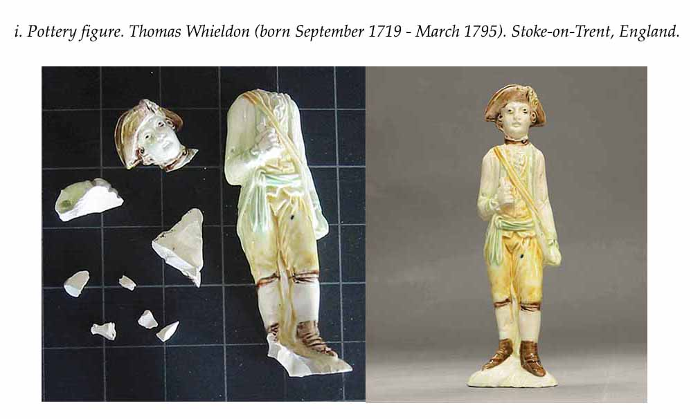 Pottery figure. Thomas Whieldon (born September 1719 - March 1795). Stoke-on-Trent, England
