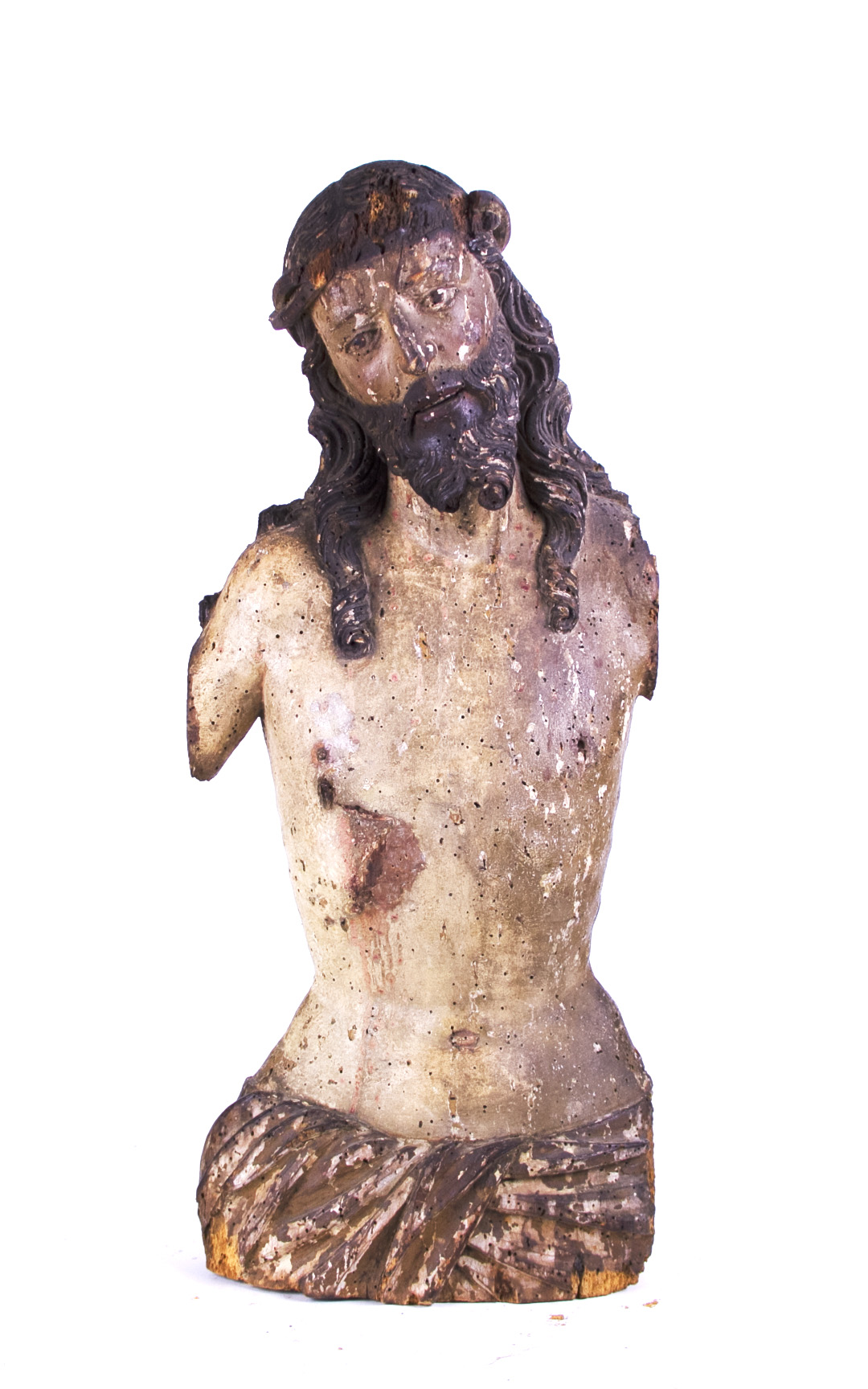 Carved Polychrome Wood Figure of Jesus