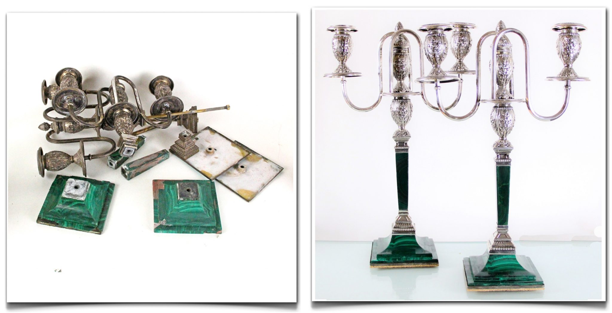 Restoration of Silver and Stone. Antique Candelabras with Russian Silver Marks.