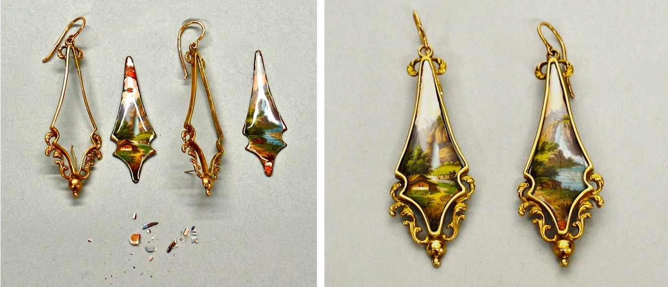 Restoration of Enamel on Cooper Earrings.