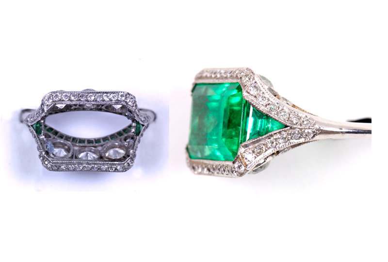 Restoration and Repair of Jewelry. Emeralds and Diamonds are set in Platinum Ring.