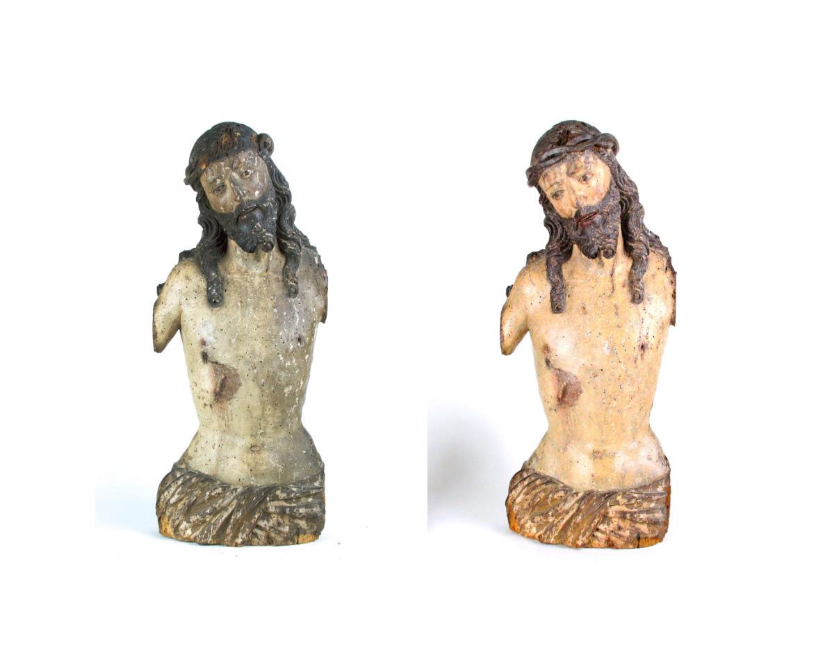 Restoration of Sculpture. Polychromed Wood Carving